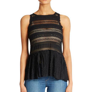 Free People Pucker Up Lace Cami Black Tank Top XS